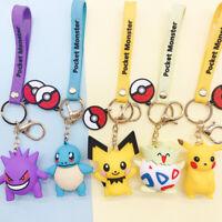 3D Anime Figure Pokemon Go Keychain Cute Pikachu Toy Key Ring Ornament