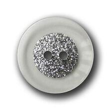 5 transparente Kunststoff Knöpfe mit attraktivem Silber Glitzer (2450gl-23mm)