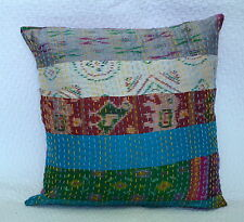 "Cushion Cover Patola Silk Patchwork Kantha Quilted Throw 16"" Sofa Decor Pillow"