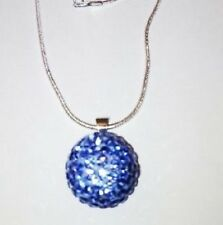 LARGE 14MM LIGHT BLUE  SHAMBALLA CZECH CRYSTAL DISCO BALL/SILVER/PLATE NECKLACE