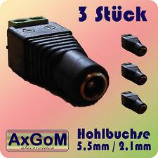 Hohlbuchsen 5,5 mm / 2,1 mm - Schraubklemmen - 3 Stück