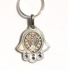 Hamsa Menorah Keychain w/ Hebrew Traveler Prayer, ISRAEL Jewish Judaica Key Ring