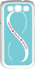 Baby Blue & White Mother's Love with Two Red Names Samsung Galaxy S3 Case Cover
