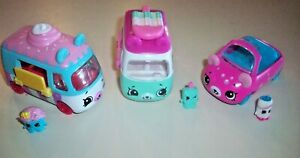 Shopkins Cutie Car Lot of 3 With Drivers ~  Cupcake, Popsicle & Soda Pop