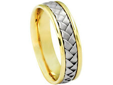 18K Yellow White Gold Band 2Tone Woven 6mm Comfort Fit Men Women Wedding