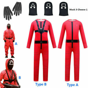 2021 Kids Squid Game Jumpsuit Costume Mask Cosplay Halloween Outfit Round Six DE