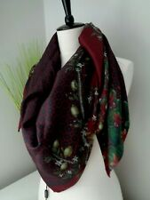 Authentic D&G Dolce & Gabbana Burgundy Pattern Silk Large Square Scarf