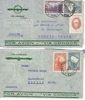 Alle Welt Argentinien 2 LuPo Briefe 1938 und eine Briefvorderseite als Einschr-