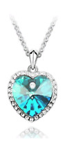 SILVER & CRYSTAL HEART NECKLACE IN TURQUOISE **UK SELLER** WEDDING BRIDESMAID