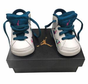 Nike Jordan 6 Retro Infant 2C White Fuchsia Lace Up