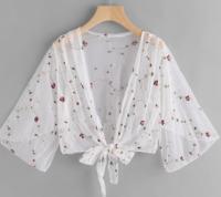 Women Floral Summer Casual Boho Chiffon Mesh Kimono Lace Blouse Cardigan Tops