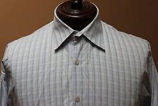 Hugo Boss Long Sleeved Button Front Dress Shirt Check Pattern Size 16 34/35