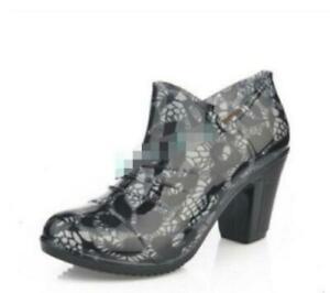 Women's Chunky Heels Round Toe Ladies Ankle Boots Rain Waterproof Pump Shoes NEW
