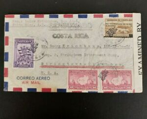 10 Costa Rica WWII censored covers to the USA