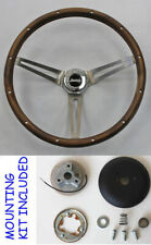"Grant 1976-1995 Jeep CJ5 CJ7 YJ Wood Steering Wheel 13 1/2"" Horn Kit SS Spokes"