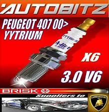 FITS PEUGEOT 407 3.0 V6 2004> BRISK SPARK PLUGS X6 100K GUARANTEE YYTRIUM