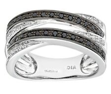 9ct White Gold Black and white Diamond 0.28ct pave ring 10mm giftboxed free post