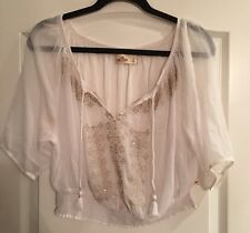 New Women's Hollister White And Gold Boho Style Blouse Size Large