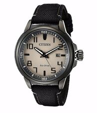 Citizen Eco-Drive Men's AW1465-06H Black Case Black Nylon Strap 43mm Watch