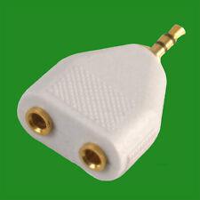 White 3.5mm Stereo Plug To 2x 3.5mm Headphone Socket Doubler Adapter Splitter