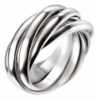 Elements 925 Satin Sterling Silver Heavyweight Men's 6-Band Russian Wedding Ring