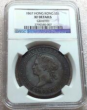 1867 Hong Kong Silver Dollar Queen Victoria NGC XF Nice Toning Scarce