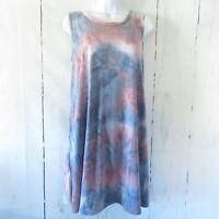 New Yee By Umgee Tank Top Tunic Dress M Medium Blue Tie Dye A Line Made In USA