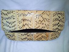 Fantastic Gorgeous Vintage Snake Skin Envelope Clutch Handbag