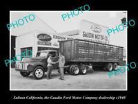 OLD LARGE HISTORIC PHOTO OF SALINAS CALIFORNIA, THE GAUDIN FORD DEALERSHIP c1940