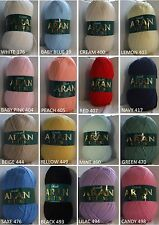 ARAN WOOL BY WOOLCRAFT 100% ACRYLIC 400G BALL- CHOICE OF 16 COLOURS