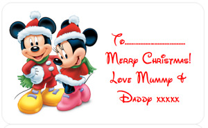 PERSONALISED STICKERS CHRISTMAS XMAS PRESENT LABEL DISNEY MICKEY MOUSE MINNIE