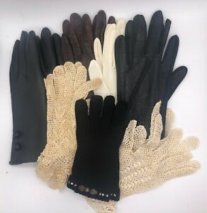 Lot of 7 Pair Vintage 1930s / 1940s Ladies Gloves--Leather, Crocheted, Knit