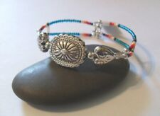Seed Bead Memory Wire Bracelet Silver Concho & Heart Bead Blue