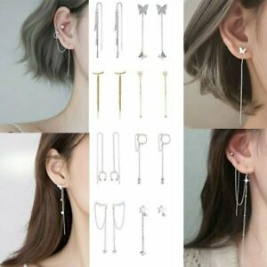 Fashion Crystal Long Tassel Cuff Earrings Ear Line Clip Threader Drop Dangle New