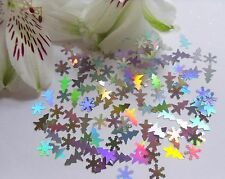Nail Art Holographic *Silver Xmas Snowflakes & Trees* Pack Spangle Glitter Craft