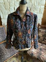 Black Floral Tapestry Coldwater Creek Cardigan ZIP Jacket P Small