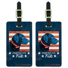 American Fido American USA Flag Lab Dog Luggage ID Tags Cards Set of 2