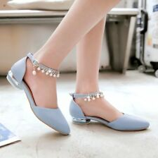 Fashion Women Pointed Toe Mary Janes Flats Shoes Ankle Strap Beaded Casual Pumps