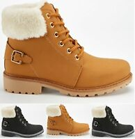 LADIES WOMENS ANKLE WINTER FAUX FUR ARMY COMBAT GRIP SOLE ANKLE SHOES BOOTS SIZE