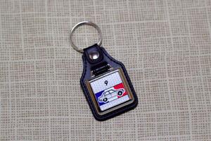 Renault 9 Keyring - Leatherette and Chrome Keytag