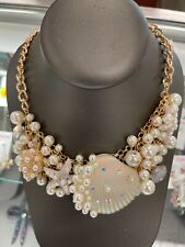 Betsey Johnson Pearl Shell Statement Necklace 300590c101