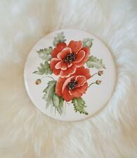 """H and R Johnson Ltb. Made In England Round 6"""" Tile Diameter Red Floral percy 82"""