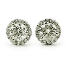 14k White Gold Diamond Halo Earrings 0.77ct, I-1 GH VG-Ex (NEW studs) 00019859
