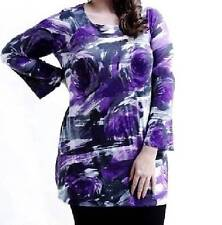 NEW QUALITY MARINA KANEVA PURPLE ROSE FLORAL TUNIC ~ TOP  SIZE 16.