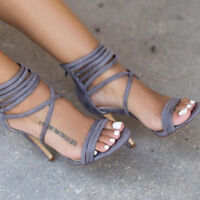 Womens Sandals Party Nightclub High Heels Stiletto Suede Gladiator Ankle Strappy