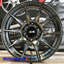 XXR 527 Chromium Black 16x8 +20 Fin Type Wheels Rims 4x114.3 4x100 Stance Set 4