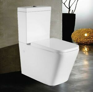 NEW Close Coupled Square Eco Toilet Flush Back to Wall Soft Close Seat