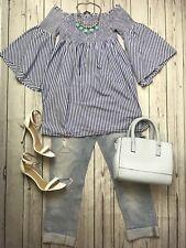 Zara Sz S 8 10 Blue Striped Of Shoulder Trumpet Sleeve Top Blouse Shirt
