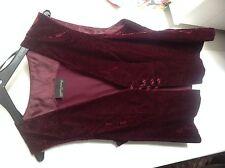 Dorothy Perkins - Velvet Summer Suit - Short Skirt and Waistcoat - Claret - 10
