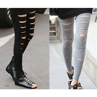 Fashion Women Slim Stretchy Ripped Slit Cotton Legs Pants Tights footless